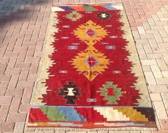 "Mustard and red rug,  91"" x 50.5"", Vintage Turkish kilim rug, area rug, kilim rug, kelim rug, vintage rug, bohemian rug, Turkish rug, 171"