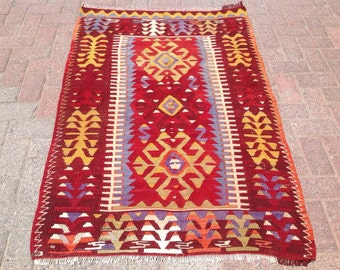 "4'9"" x 3'3""  Vintage Turkish kilim rug, small red, blue and burgundy area rug, kilim rug, kelim rug, vintage rug, bathroom rug, small, 043"