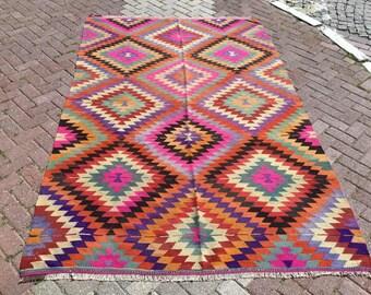 """Tapis turc Kilim, tapis, 113 """"x 72», tapis, tapis kilim, tapis kelim, vintage tapis, kilim turc Vintage, Bohème, tapis turc, tapis, tapis rose"""