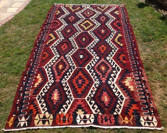 "Turkish Kilim, 117"" x 63.5"", Kilim rug, Vintage Turkish kilim rug, Burgundy area rug, kelim, vintage bohemian rug, Turkish rug, dark rug,748"