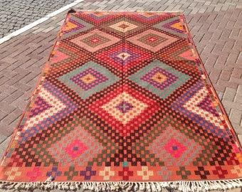 """Faded Pink Kilim rug, Vintage Turkish kilim rug, 71"""" x 124"""", area rug, kilim rug, kelim, vintage rug, bohemian rug, Turkish rug, rugs,493"""