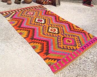 """Kilim rug, Turkish kilim, 113"""" x 67"""", area rug, Vintage kilim rug, organic wool kelim, vintage rug, bohemian rug, Boho, rugs, bright rug,496"""