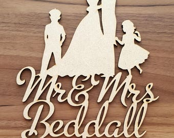 Silhouette Wedding Cake Topper, Bride and Groom Cake Topper, Children Cake Topper, Family Cake Topper, Cake Decoration, Personalised, Custom