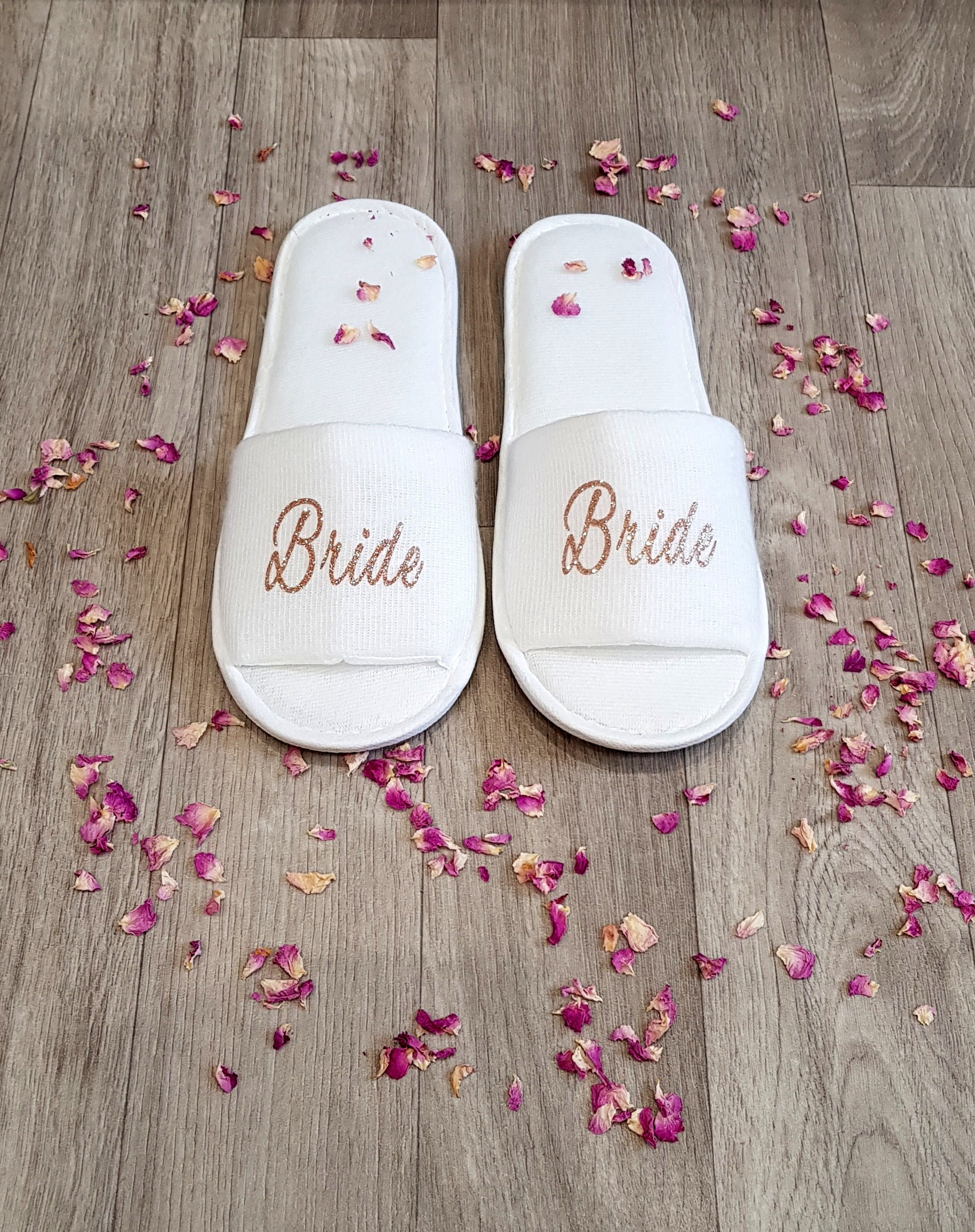 2e9ded379fd385 Personalised Wedding Slippers Bridal Slippers Open Toe