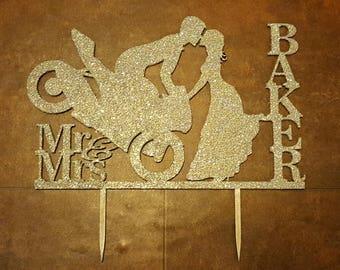 Biker Wedding Cake Topper, Wedding Cake Topper, Personalised, Custom Cake Topper, Bike Riders, Cake Topper, Wedding Decoration, Photo Prop