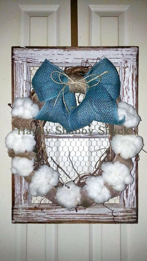 Cotton Boll wreath chicken wire wall decor framed cotton | Etsy