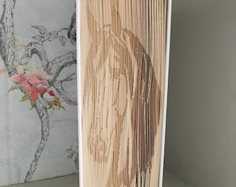 Folded book art horse
