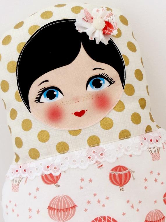 "Babushka matryoshka softie plush doll pillow gift, Medium, 38cm/15"" tall, coral gold style"