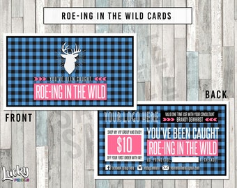 Buffalo Plaid Roe-ing In The Wild Cards - Blue - 2 Sided - For your business