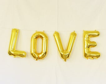 LOVE gold balloon letters. Gold letter balloon kit. Bridal shower garland. Bachelorette party balloons. Bachelorette & bridal shower decor