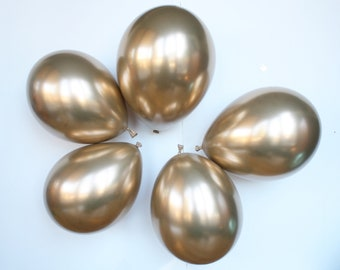 "Chrome GOLD balloons - 11"". Set of 10. Shiny gold latex balloons. Chrome latex balloons. Shiny gold party balloon. Gold chrome balloon"