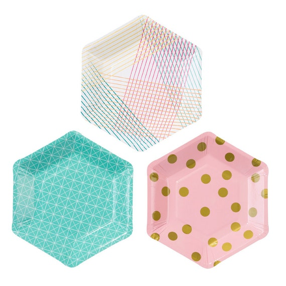 Pink gold and seafoam green paper plates. Set of 12. SMALL hexagon paper dessert plates. Pink and gold paper plate. Seafoam green plates from ...  sc 1 st  Etsy Studio & Pink gold and seafoam green paper plates. Set of 12. SMALL hexagon ...