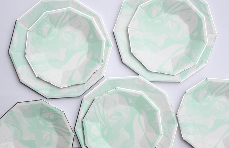 Lunch size mint green plates with silver foil edges Mint green and silver party plates Set of 8 Marble mint paper plates Marble plate