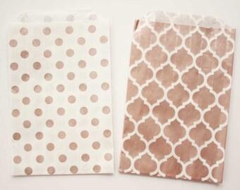 MEDIUM rose gold party favor bag.  5x7. Set of 10.  Rose gold treat bag.  Rose gold paper treat bag.  Party favor bag.  Birthday PARTY favor