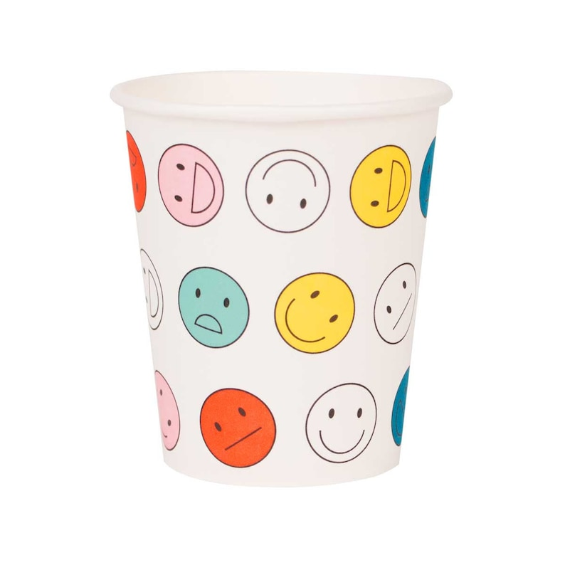 Emoji Paper Cups Smiley Happy Face Paper Cups Emoji Party Etsy
