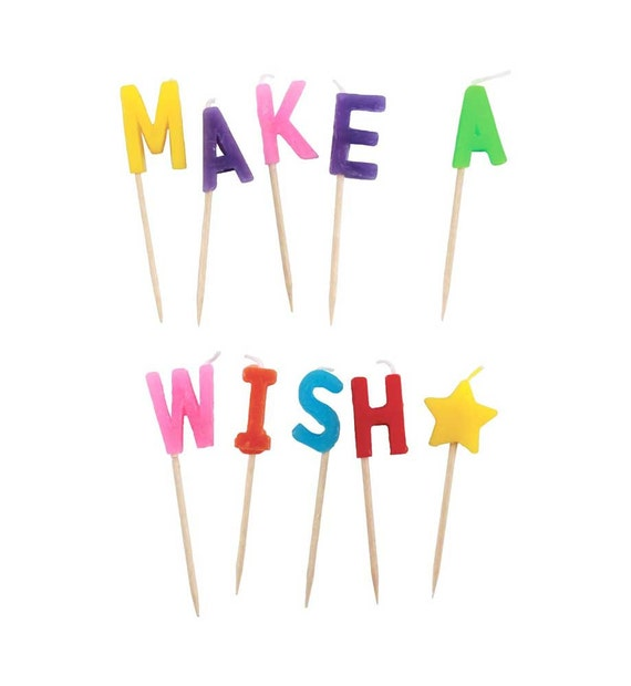 MAKE A WISH Birthday Letter Candles Happy