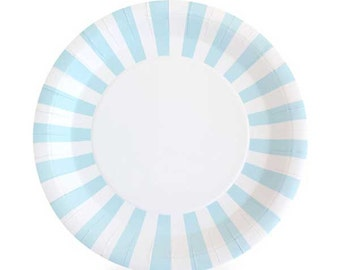 Light blue and white paper plates. Set of 12. Baby blue and white striped  sc 1 st  Etsy & Pink and white paper plates. Set of 12. Light pink and white