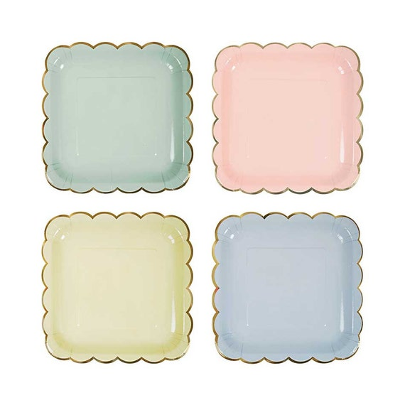 Pastel paper plates with gold scalloped edges. 9x9. Set of 8. Pastel peachy-pink mint green light blue light yellow paper plates. from thepartydialect on ...  sc 1 st  Etsy Studio : light green paper plates - pezcame.com