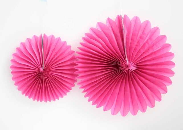 Fuchsia pink tissue paper pinwheel fan.  8 inch or 12 inch. Fuchsia party decorations.  Pink pinwheel fan.  Pink party decor.
