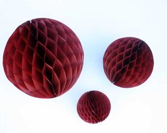 Burgundy tissue honeycomb balls - 5, 8, or 12 inch. Merlot honeycombs.  Maroon party decor.  Burgundy party decorations.  Wine honeycombs