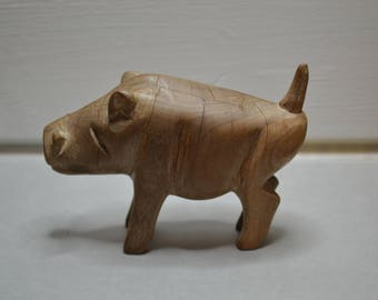 Vintage Carved Wooden Boar Pig Toy Ornament.