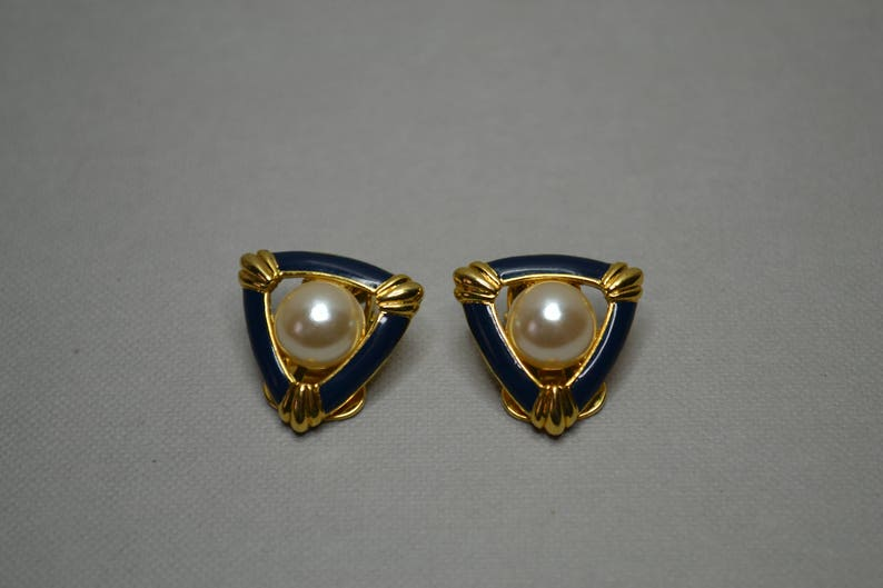 Beautiful Navy and Gold with Button Pearl Design Soleil Vintage Earrings Clip On