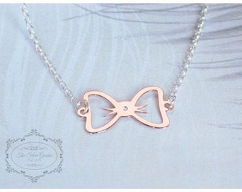 Rose Gold Bow Necklace, Princess Necklace, Bow Jewellery, Bow Gift, Jojo Bow Necklace, Rose Gold Necklace, 13th Birthday, Girly Gift, Teen