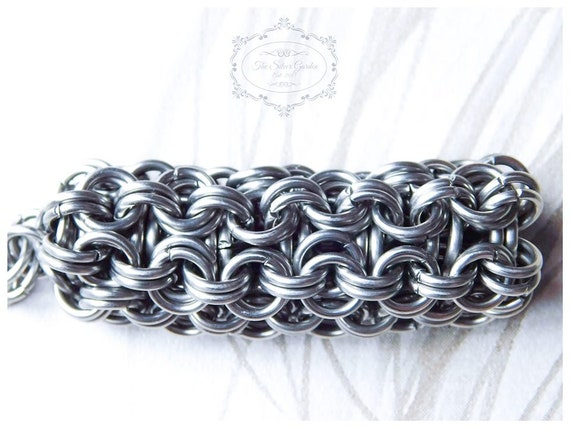 Gift For Him Steel Jewellery Birthday Husband Gift Stainless Steel Mens Gift Chain Maille Bracelet Unisex Fathers Day Full Persian