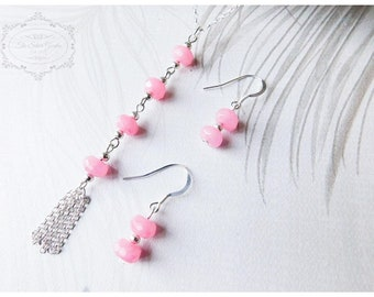 Pink Morganite Necklace Set, Lariat Necklace, Gemstone Necklace, Morganite Earrings, Scorpio Gift, November Birthstone, Tassel Necklace,