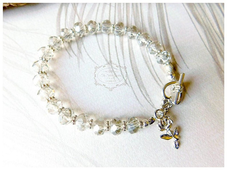 Ivory Crystal Bracelet Rose Bracelet Heart and Rose, Rose Jewellery Bead Bracelet Rondelle Bracelet Crystal Jewellery Jewellery Gift