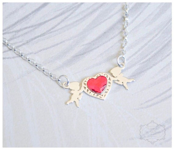 d9ad6ccf9ead81 Crystal Cupid Necklace Swarovski Heart Cupid Jewellery