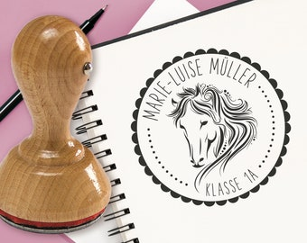 Individual Stamp Name Class Children's Stamp School Stamp Horse Girl
