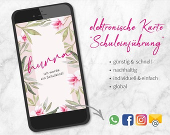 Invitation School Introduction Floral Flower Sheets - eCard Digital File -