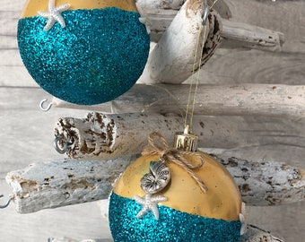baubles 2 x 80mm beach bauble coastalbeach themed hanging decoration weddingchristmas tree