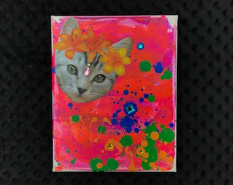 Hippie kitty - original mixed media collage painting