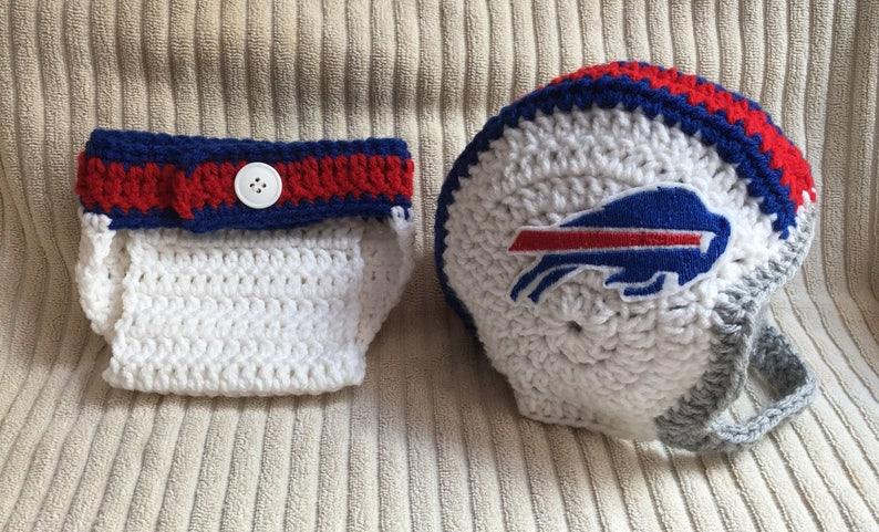 f6f592613d4 Buffalo Bills Inspired Crochet Baby Football Helmet Hat and