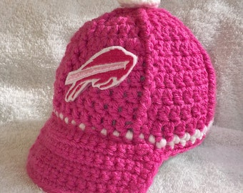 Buffalo Bills Inspired Crochet Baby Girl's Pink Hat Cap with Embroidered Logo- Newborn, 0-3 Months, 3-6 Months, 6-12 Months Sizes