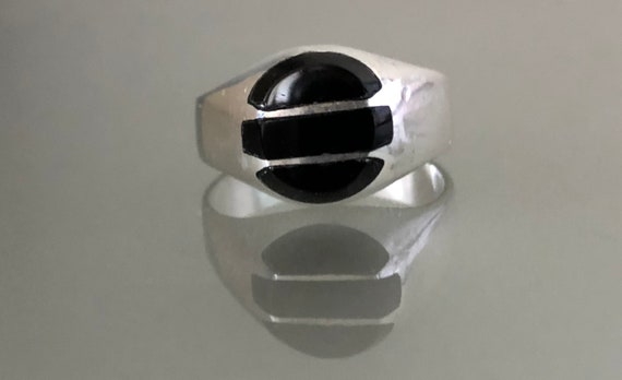Mexican Modernist Onyx and Sterling Silver Ring