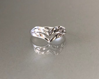 Vintage Sterling Silver Double Chevron Ring