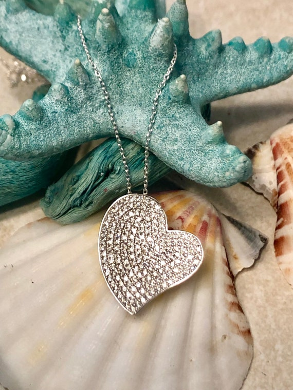 Blue Opal Cubic Zirconia Wave Swirl Beach .925 Sterling Silver Pendant Necklace
