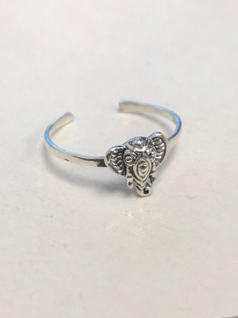 Sterling Silver Adjustable Elephant Toe Ring