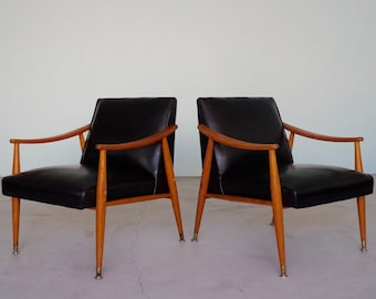 Awesome Pair Of Original 1950u0027s Mid Century Modern Lounge Chairs In  Original Black Naugahyde!