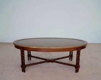 Gorgeous Vintage Hollywood Regency Faux Bamboo U0026 Leather Coffee Table In  Showroom Condition!