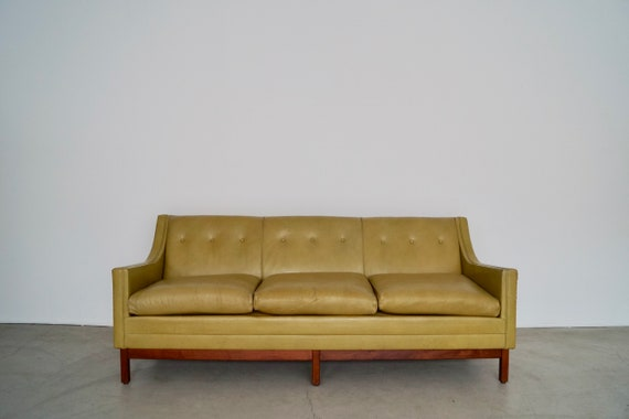 Gorgeous 1950\'s Mid-century Modern Sofa in Original Green Leather!