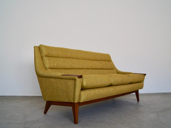 Stunning 1950\'s Mid-century Danish Modern Sofa Professionally Refinished &  Reupholstered in Knoll Textiles!