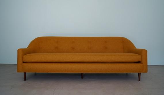 Gorgeous Mid-Century Modern Designer Sofa by Flexsteel Reupholstered in  Orange Wool!
