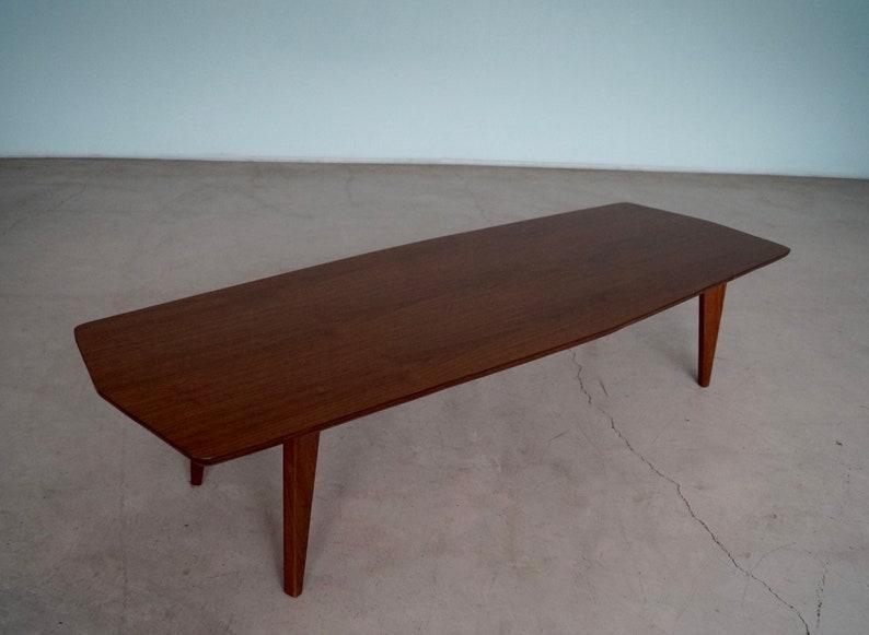 Rad Mid Century Modern Surfboard Coffee Table In Walnut Etsy
