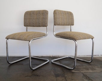 Stunning Pair Of Mid Century Cantilevered Cesca Chairs In Chrome  Reupholstered In Designer Tweed Fabric