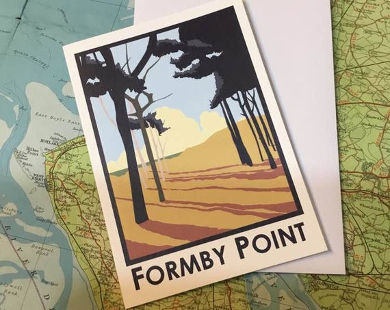 Formby - Liverpool - Mersey - greetings card - Formby Point - Travel Poster - thejonesboys - the jones boys