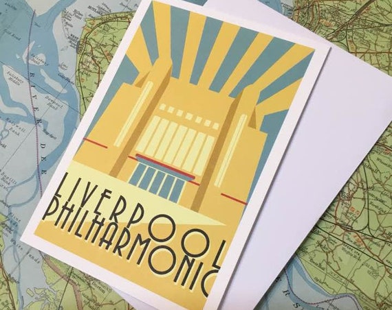 Philharmonic - - Liverpool - Mersey - heritage - greetings card - Theatre - Art Deco